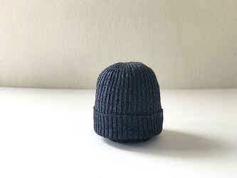フレンチリネン×和紙糸 ニット帽  ネイビー杢の画像