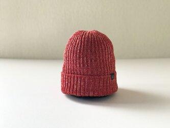 フレンチリネン×和紙糸 ニット帽  レッド杢の画像