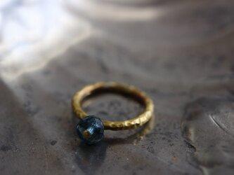 3月誕生石*モスアクアマリン*AAA*ブラスポイントリング*真鍮*指輪*no.516の画像