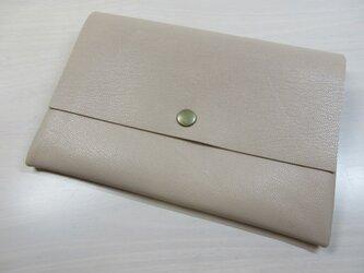 A6、お薬手帳、母子手帳対応・ゴートスキン・一枚革のマルチケース・カードポケット付き・0223の画像