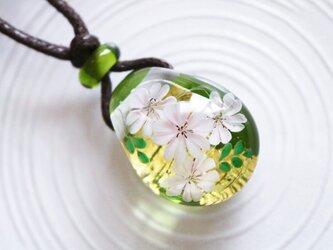 桜のとんぼ玉ガラスペンダント 金箔入りの画像