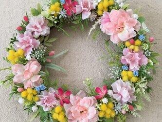 桜とミモザ*ほんわか優しいリースの画像