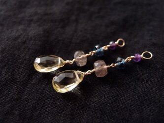 送料無料【k14gf】フープイヤリング用チャーム/lemon quartz × london blue topaz × etcの画像