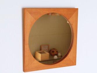 木製 鏡「四角に丸」桜材15 ミラーの画像