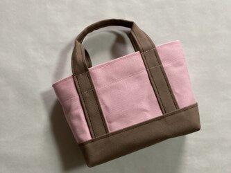 少しだけ自分へのご褒美トートバッグ(Sサイズ)「桜〜normal〜」(パステルピンク×ショコラ)の画像