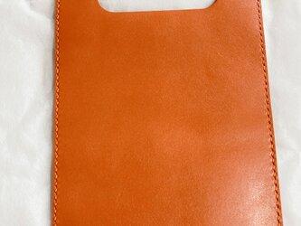 mk0125様オーダー作品    革で作った、本屋さんバッグ 文庫本サイズ 橙の画像