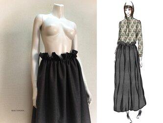 【1点もの・デザイン画付き】ハイウエストシャーリングゆったりロングフレアースカート(KOJI TOYODA)の画像