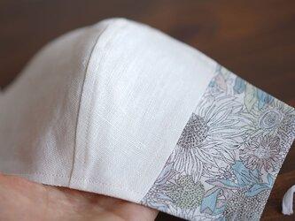 【立体マスク/切替】リバティ リネン 抗菌 防臭 速乾 ゴム調整可能 丸洗いOK 布マスク ホワイト/z021g-ssl2の画像