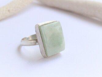 ビルマ 翡翠 レクタングル Silver Ringの画像