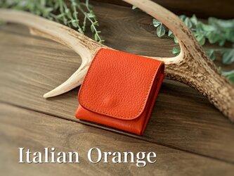 New release!3/31までがおすすめです!縦に使う小さい財布 ピクシーウォレット イタリアンオレンジ イタリアンレザーの画像