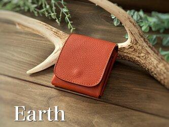 New release!3/31までがおすすめです!縦に使う小さい財布 ピクシーウォレット アース イタリアンレザーの画像