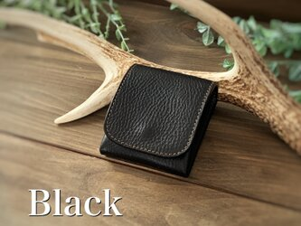 New release!3/31までがおすすめです!縦に使う小さい財布 ピクシーウォレット ブラック イタリアンレザーの画像