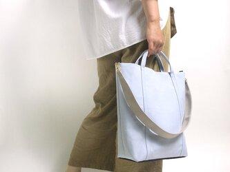 2way 配色 お仕事サイズ・帆布 トートバッグ スカイブルーの画像