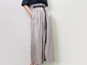コットンリネンのハイウエストギャザースカート(グレー)20014【新作】の画像