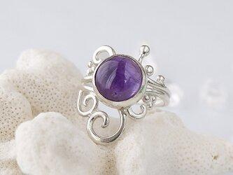 ~高貴な紫~ アメジストの唐草粒リング 14号の画像