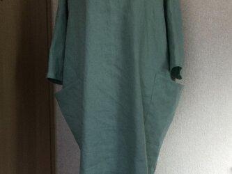 とろとろリネン100%のサイドポケットワンピース  ピスタチオグリーンの画像