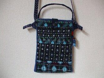 藍染絣の刺し子お散歩ショルダーバック 木綿の画像
