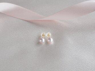 ベビーパールピアスK18YG 色:桜ピンクの画像