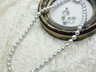 あこや真珠フォーマルセット グレー(ネックレス ・イヤリングorピアスセット)(パールネックレス)の画像