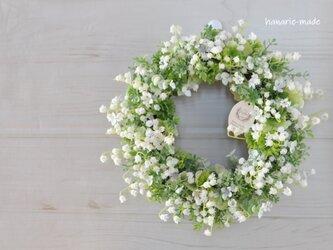 花を摘んで すずらん:リース 白 グリーン ナチュラル ミュゲの画像