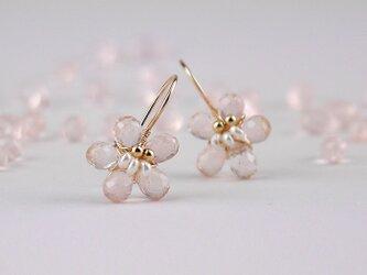 #826 桜ピンク ローズクォーツの桜ピアス14KGFの画像