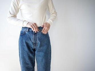 wide straight/14oz.selvedgedenim jeans/vintage washの画像