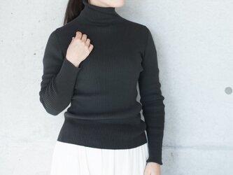Organic Cotton無縫製バイカラーリブタートルセーター【Lサイズ/ログウッド】の画像