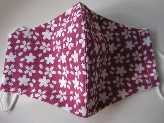 和柄小紋手ぬぐい桜柄から手作り立体3重マスク小の画像