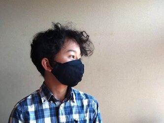 【選べる3size】めがねが曇らない リネンのマスク【ネイビー】Pure linen face maskの画像