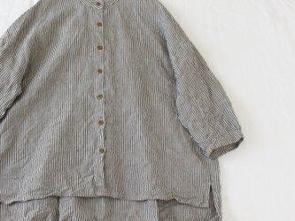 リネン八分袖ストライプシャツ*No.5の画像