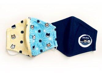柴犬柄の立体マスク2枚セット  ★(ネイビー&和柄模様の2枚入り)の画像