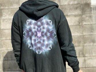 タイダイ染め フーディ ジップアップ パーカー ブラック 曼荼羅 XLサイズ Hippies Dye最新作 HD13-50の画像