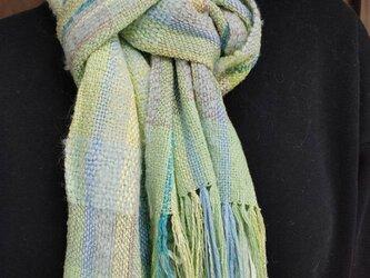 手織り シルク ウール ふんわり マフラー MUF105C 藍生葉染め ミントグリーン プレゼントの画像
