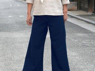 【春の新作】爽やかインディゴブルーのワイドパンツ Mサイズ・Lサイズの画像