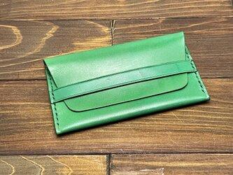 牛革のベルト付き2層カードケース(緑)の画像