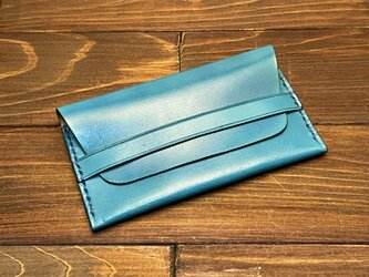 牛革のベルト付き2層カードケース(空色)の画像