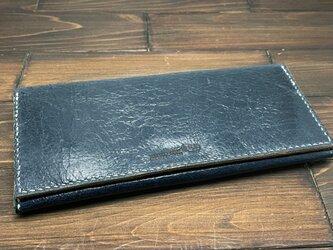 かぶせタイプの紳士長財布(豚ワックスレザー)の画像