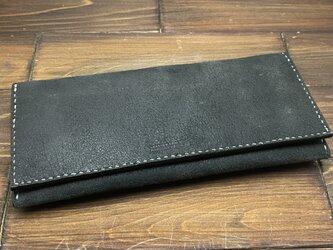 かぶせタイプの紳士長財布(牛ヌバックレザー)の画像