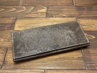 かぶせタイプの紳士長財布(ヤギ革)の画像