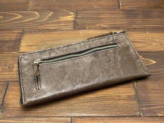 L字ファスナーのスリムな薄型長財布(ヤギ革)の画像