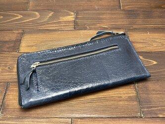 L字ファスナーのスリムな薄型長財布(豚ワックスレザー)の画像