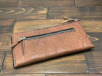 L字ファスナーのスリムな薄型長財布(バッファローレザー)の画像