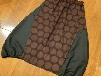 winterセール!チョコレートカラーのドットの大人バルーンスカートの画像
