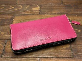 たっぷり入る!人気のラウンドファスナーのお財布(ピンク)の画像