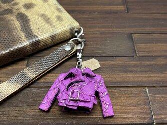 超小さい!珍品ティラピア革の親指ライダースジャケットの画像