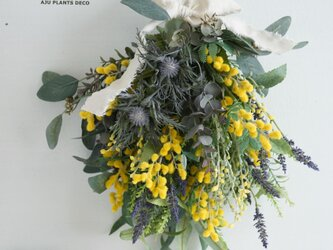 ミモザのスワッグ(造花) 40x33の画像