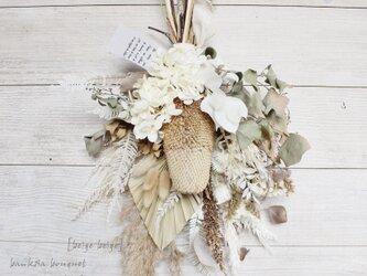 [beige beige]bouquet   バンクシアが入ったベージュのブーケ スワッグ ドライフラワーブーケの画像
