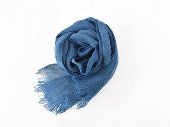 藍染めストール|国産リネンガーゼのストール《インディゴブルー》の画像