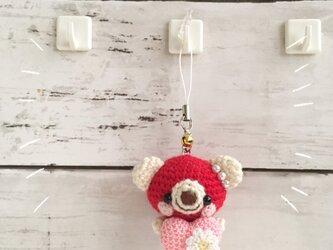 【中サイズ!受注生産 / ウール糸】ピンク色ハート/パール / 二色クマさん鈴付きイヤホンジャックの画像