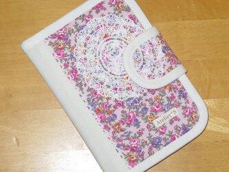 診察券・お薬手帳入れ★小花・レース柄(ピンク)の画像